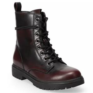 New So Women's Lace Up Burgundy Combat Boots
